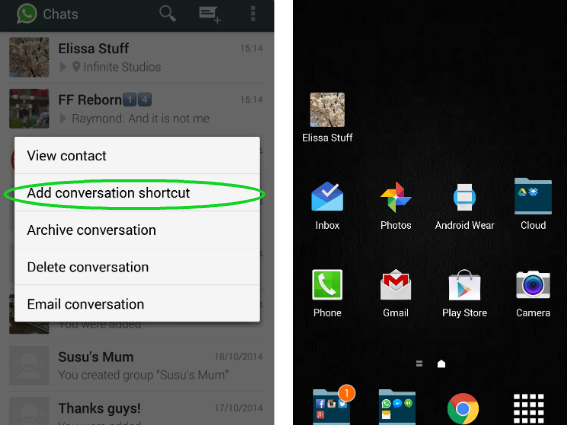 conversation shortcut in whatsapp