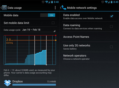 disable mobile data