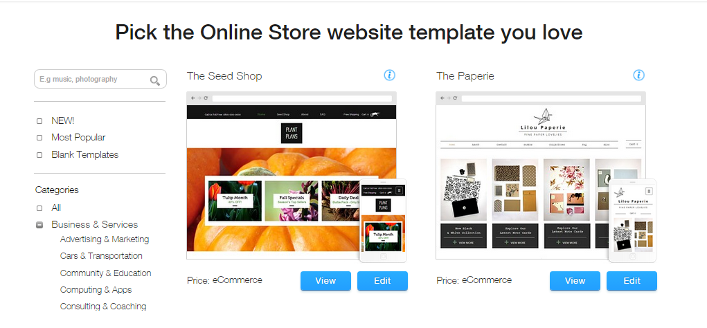 Choose Template on Wix Website Builder