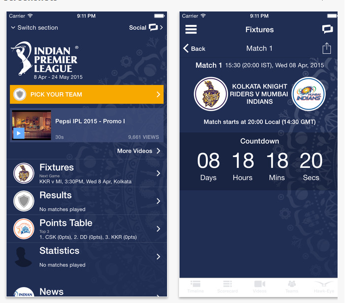 iphone cricket app ipl 2015