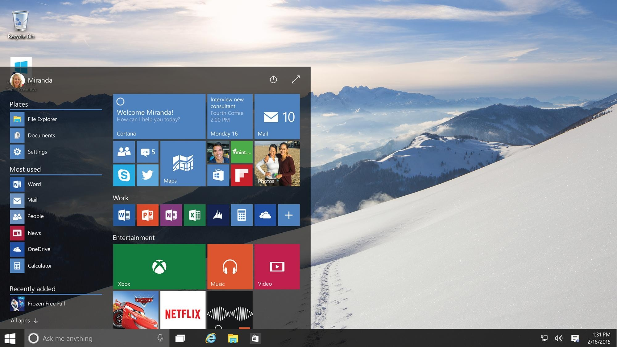 windows 10 start menu feature