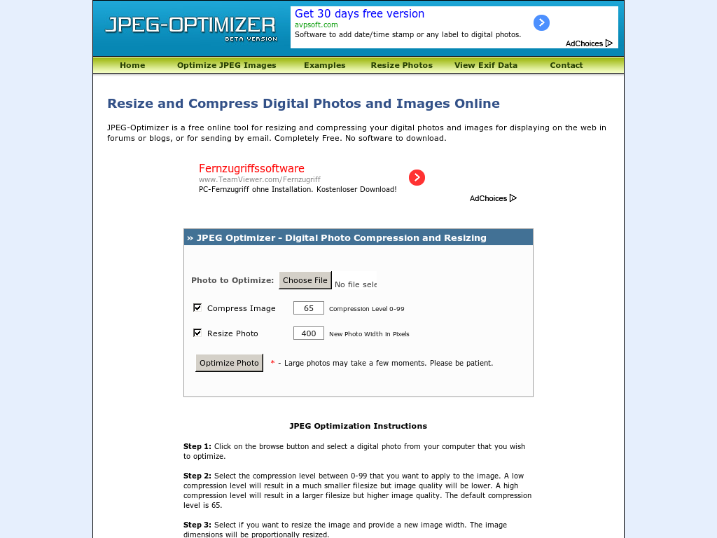 Best 10 Online Image Compressors jpeg-optimizer