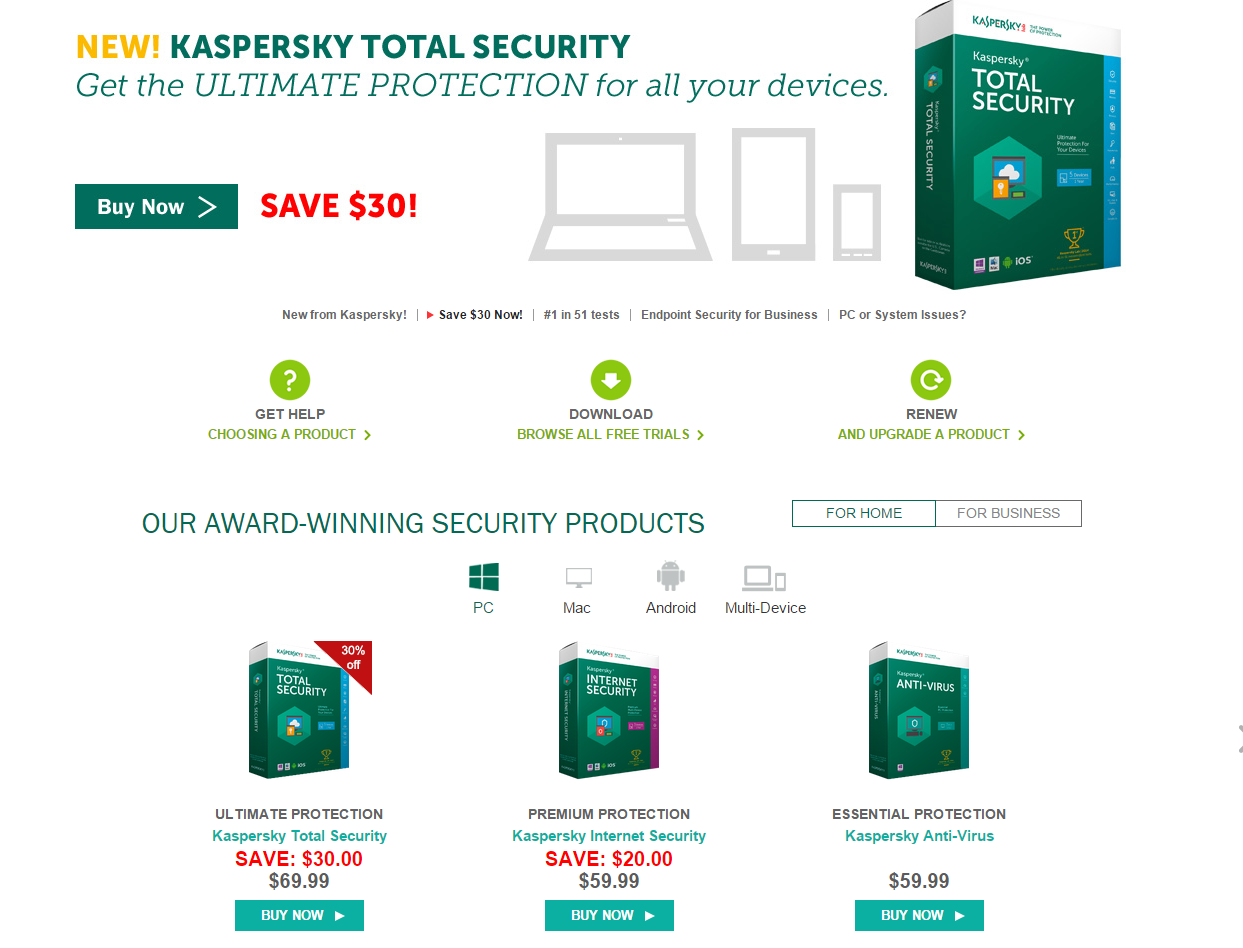 Kaspersky Lab US Antivirus Internet Security Protection Software