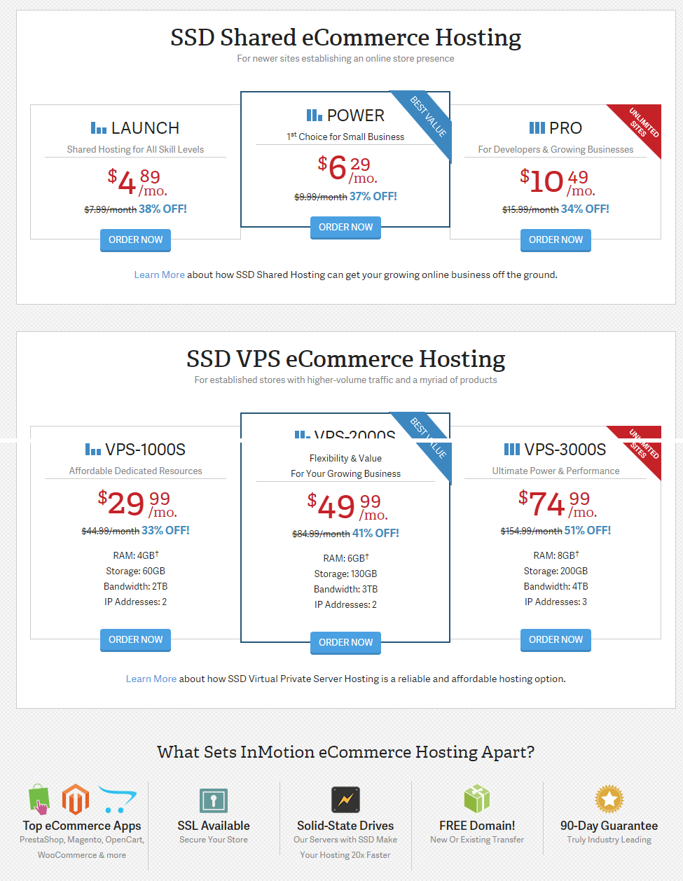 InMotion Hosting eCommerce Hosting with FREE SSD