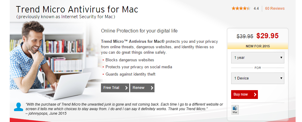 Trend Micro Antivirus for Mac Security Software