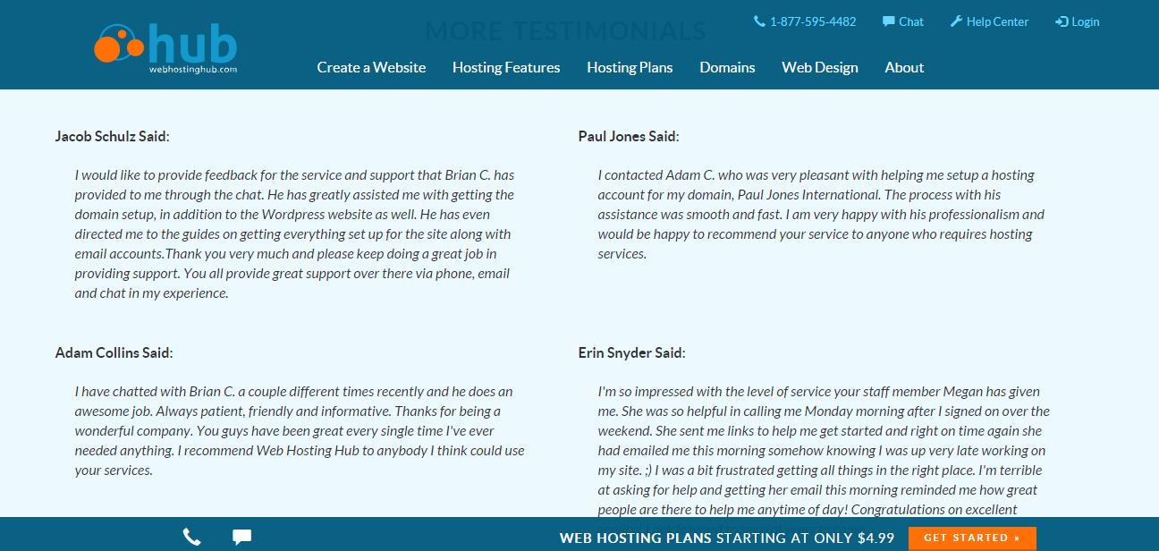 Web Hosting Hub Testimonials