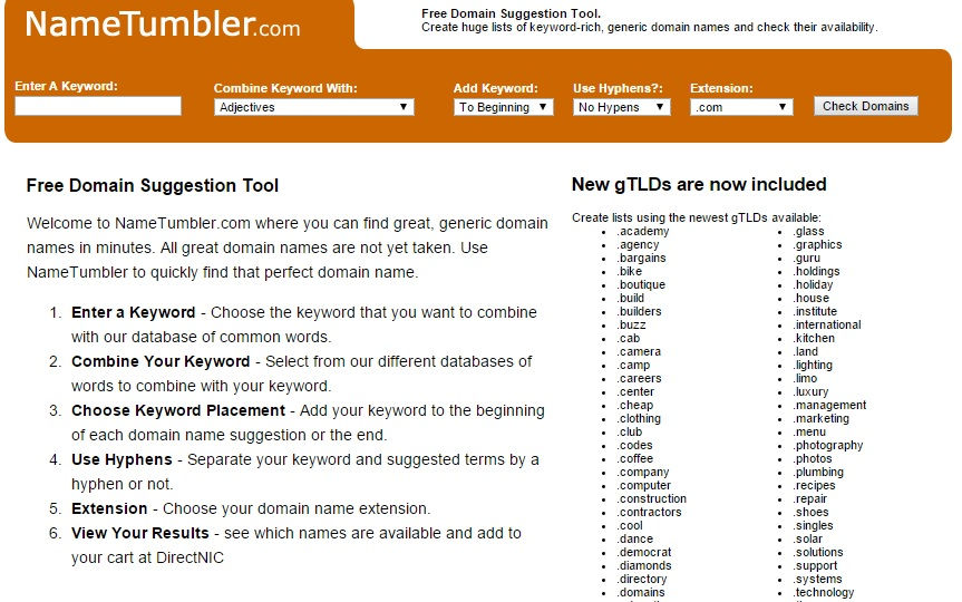 tumbler Tools for Picking the Perfect Domain Name