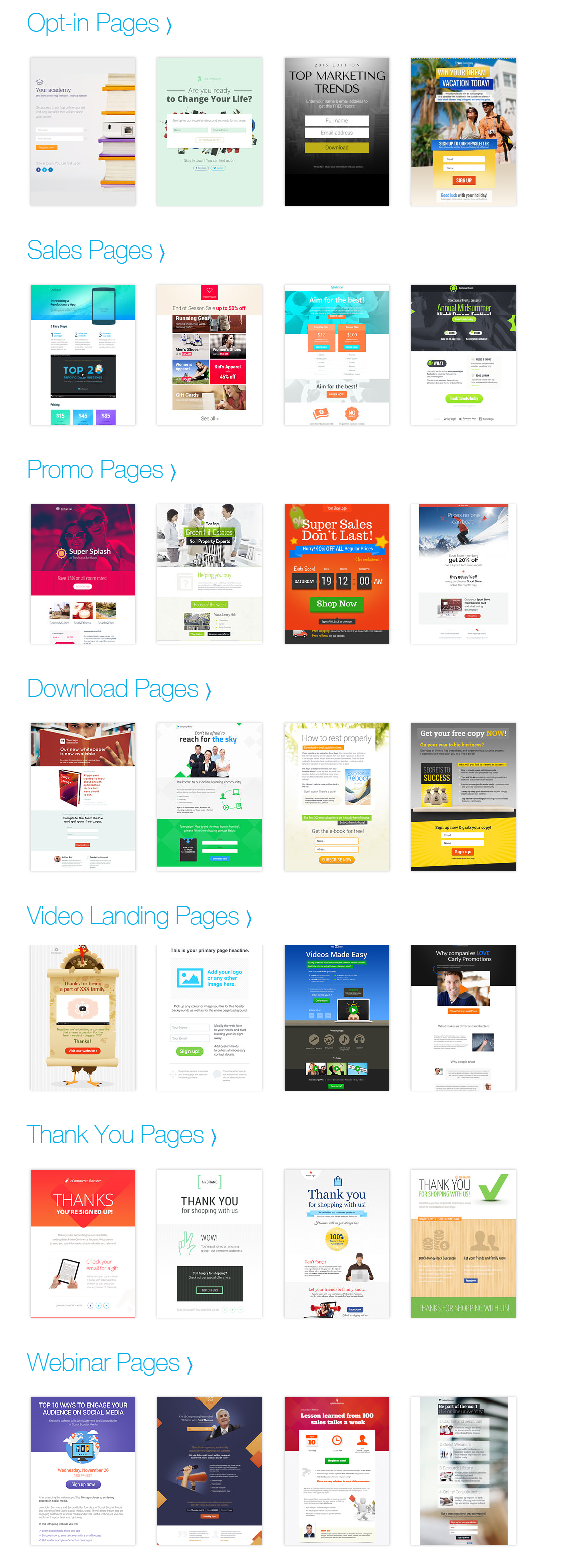 GetResponse Free landing page templates squeeze themes