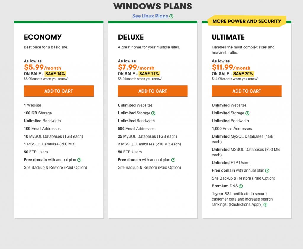 Godaddy-Plesk-Hosting-Windows-plans