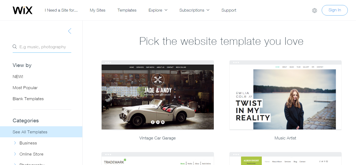 WIX Website Templates Free Website Templates