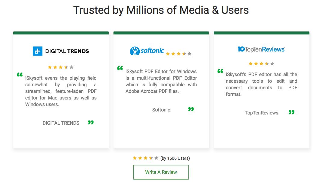 iSkysoft PDF Reviews
