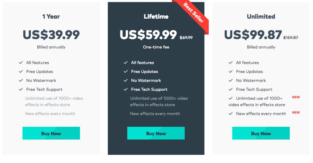 Wondershare Filmora9 Pricing