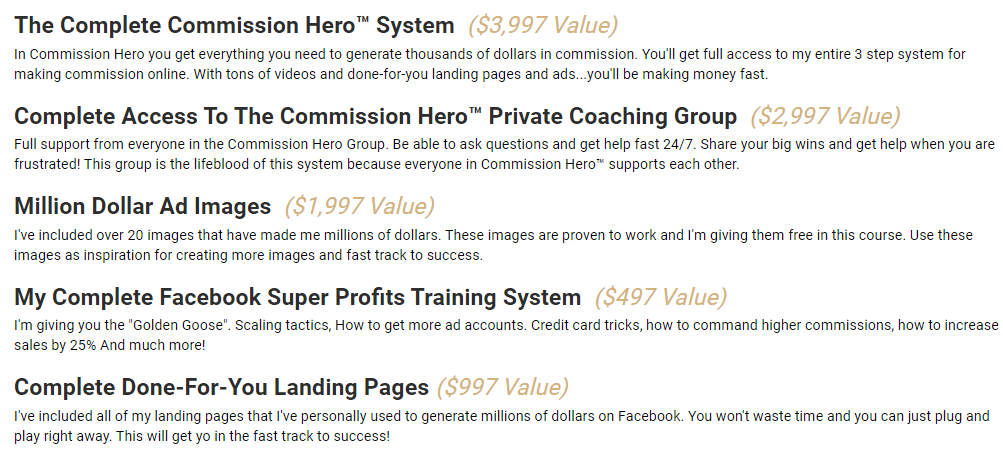 What Does Commission Hero Include?