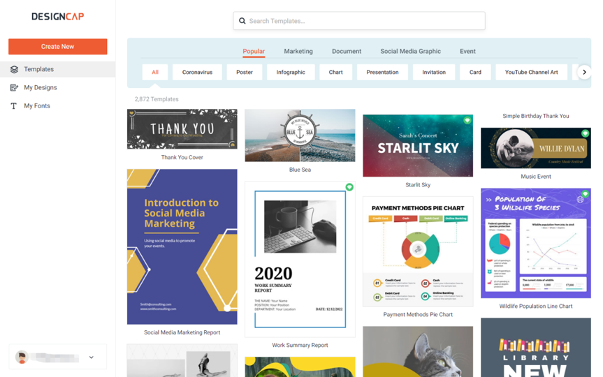 Choose any infographic template from designcap library