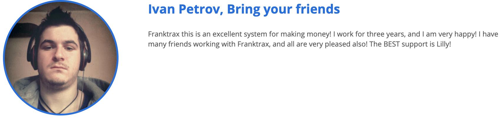 Franktrax Testimonial