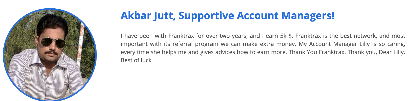 New Franktrax Testimonial