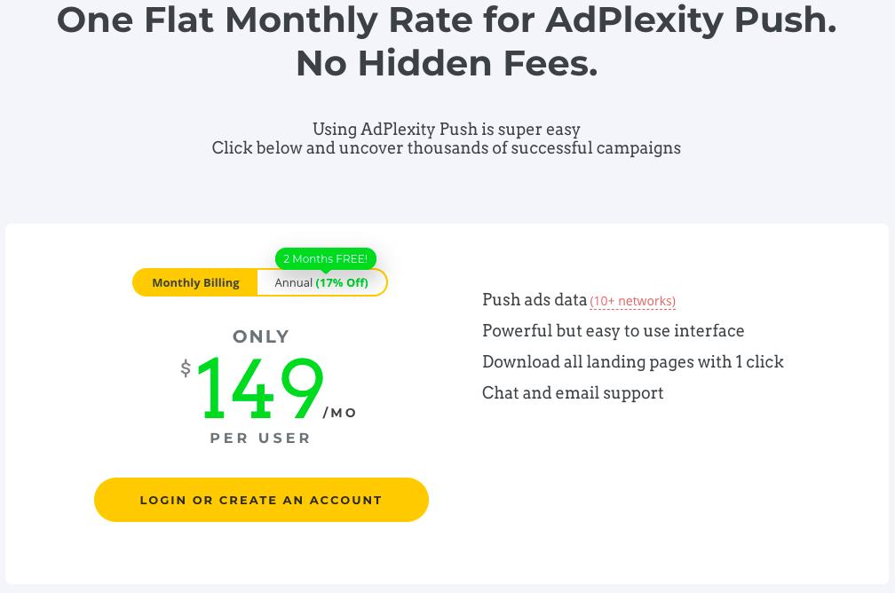 Adplexity Push Pricing