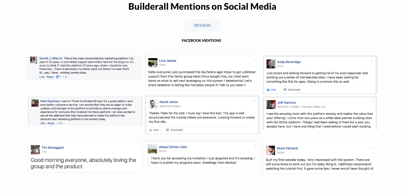 Builderall Facebook Mentions
