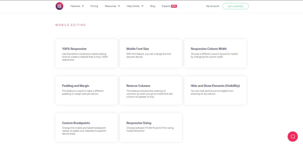 Elementor Mobile Responsive Feature