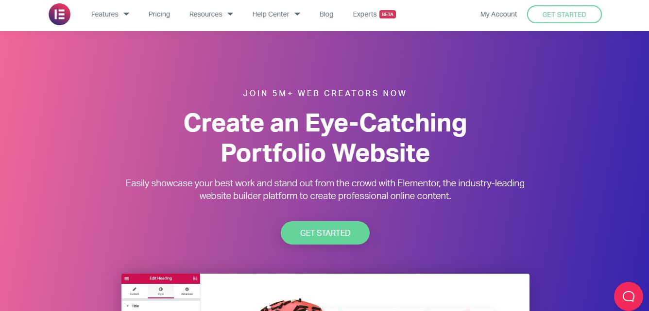 Elementor Portfolio website builder