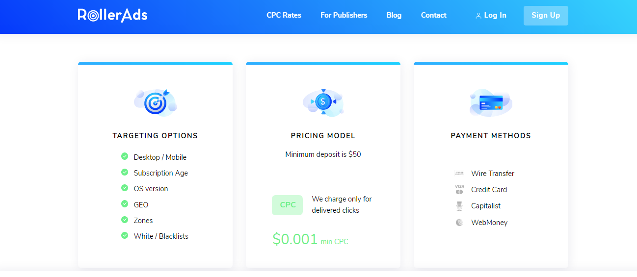 Pricing Plan of RollerAds