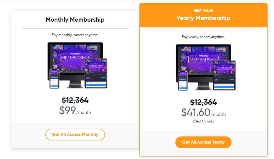 Pricing Plans of Mindvalley