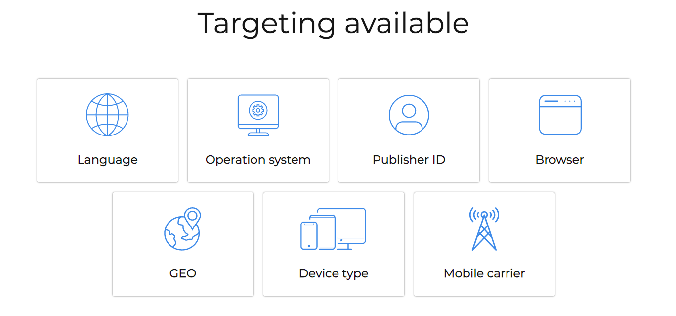 Targeting available on AdxAd