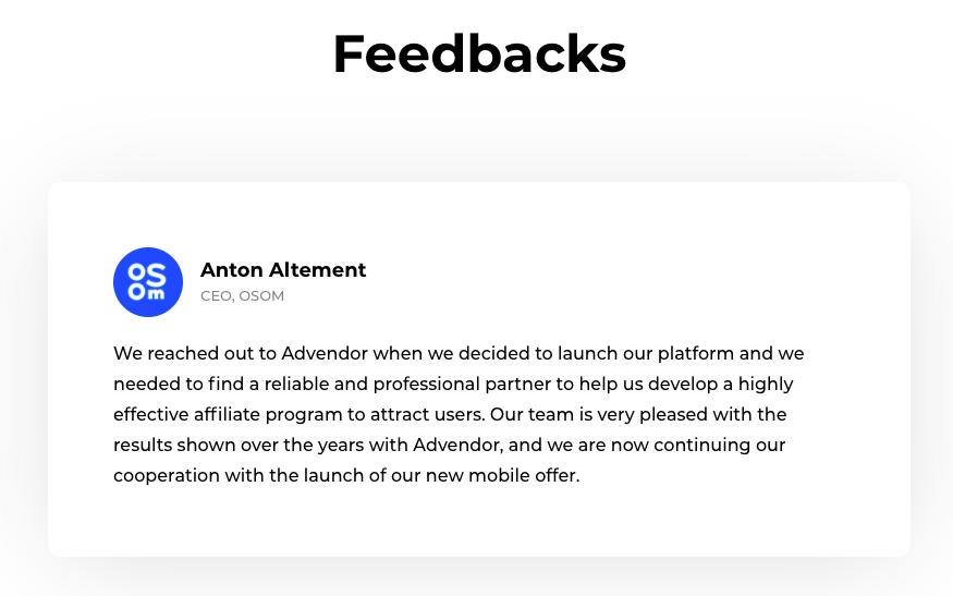 Advendor Feedbacks & Reviews