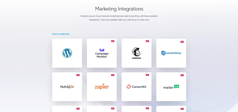 Brizy Marketing Integrations