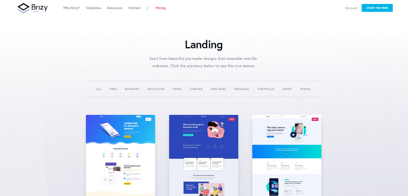 Brizy landing pages