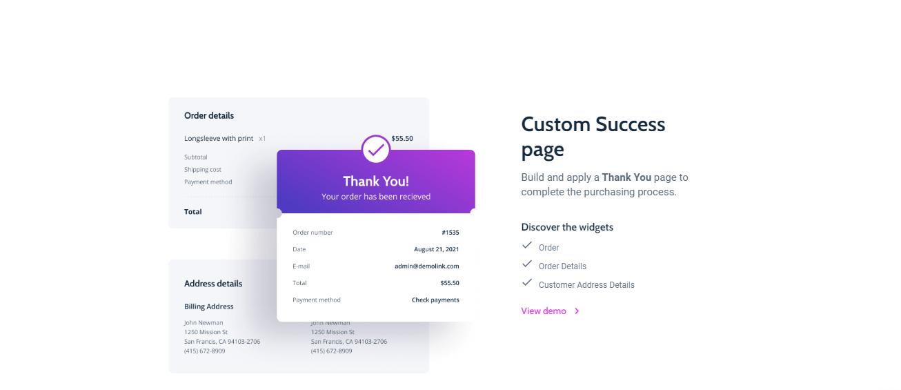 Crocoblock Custom success page