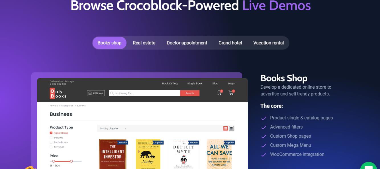 Crocoblock Live demos