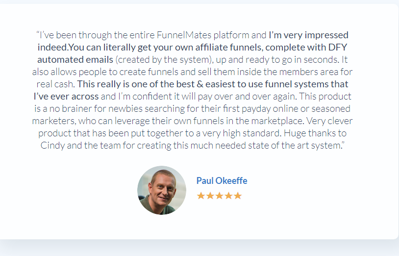 Customer Review on Funnel Mates
