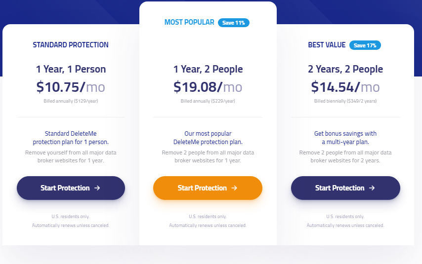 DeleteMe Personal pricing plan