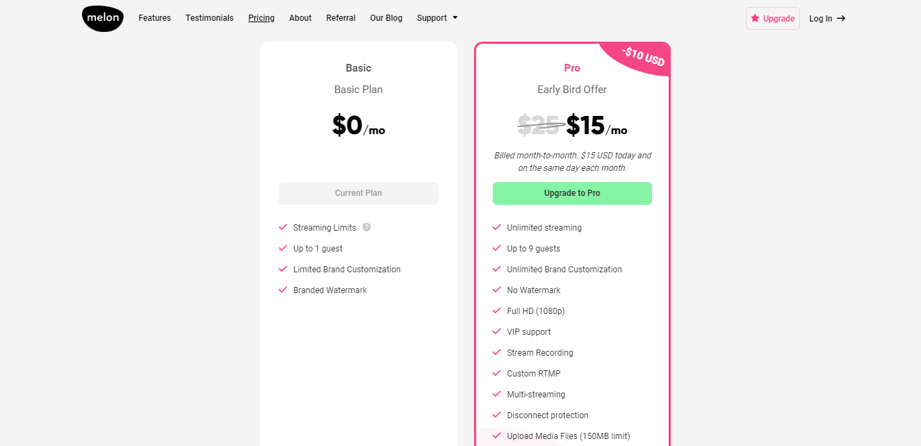 Melon App Pricing Plan