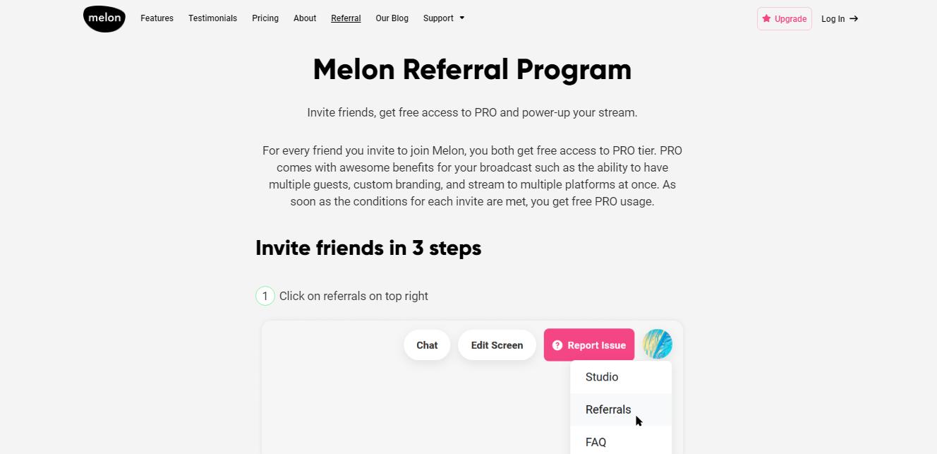 Melon App - Referral program