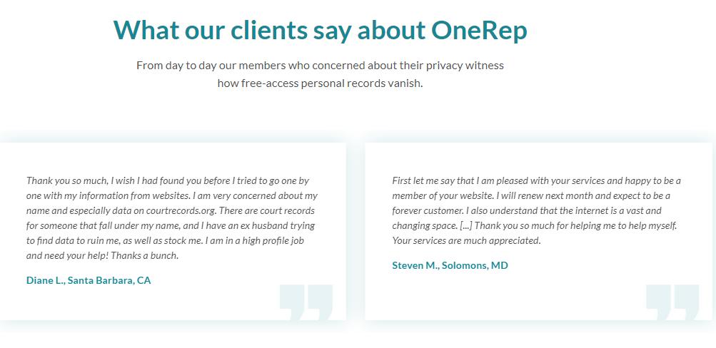 OneRep Customer Reviews