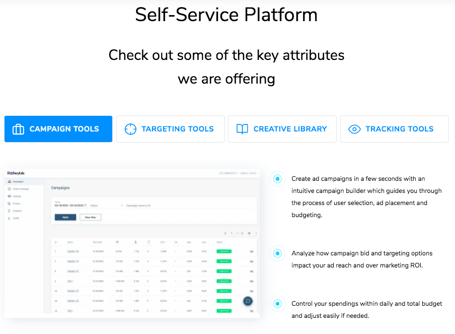RollerAds Self Service Patform