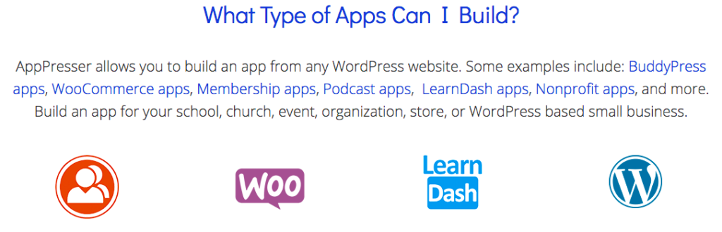 Apppresser Types Of App Can Build