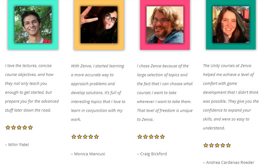 Customer Reviews Zenva Academy