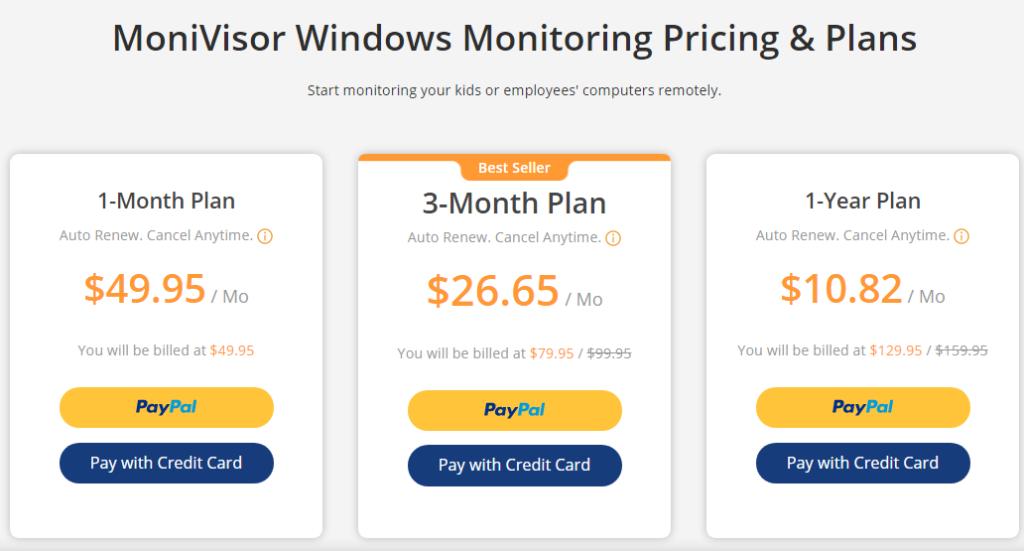 KidsGuard MoniVisor monitoring pricing