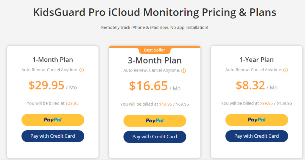 KidsGuard Pro iCloud monitoring pricing