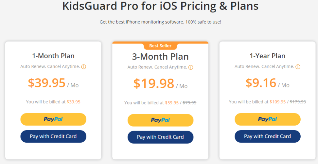 KidsGuard pro iPhone monitoring pricing