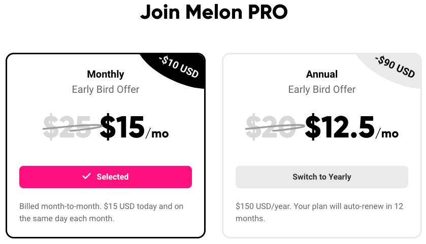 Melon App-Annual-Pricing