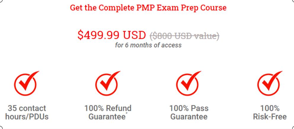 Pricing Plan of PMP Course - Brain Sensei