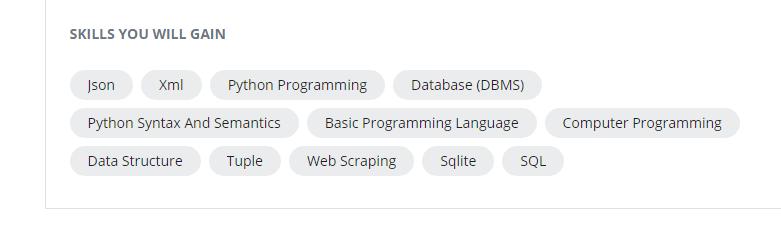 Python for Everrbody skills - Coursera