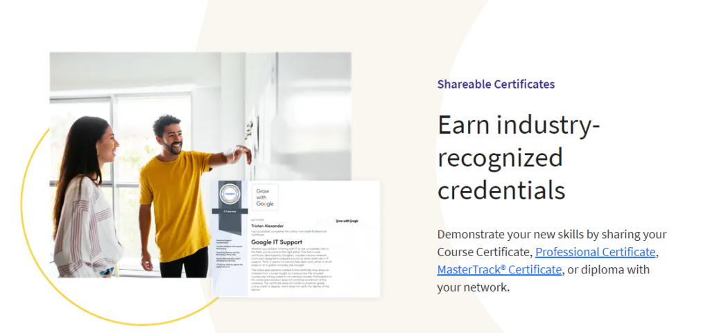 Coursera Shareable certificates