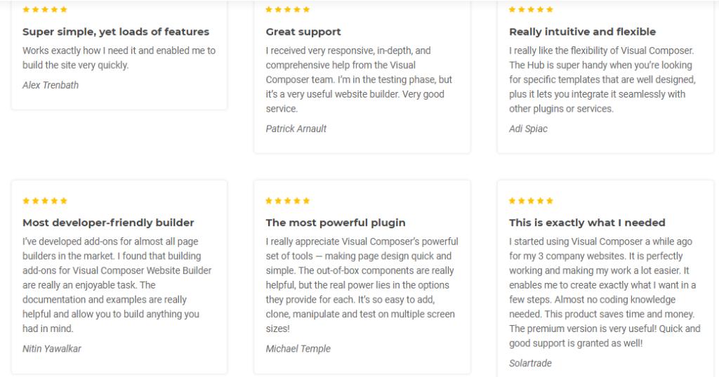 Visual Composer Customer Reviews
