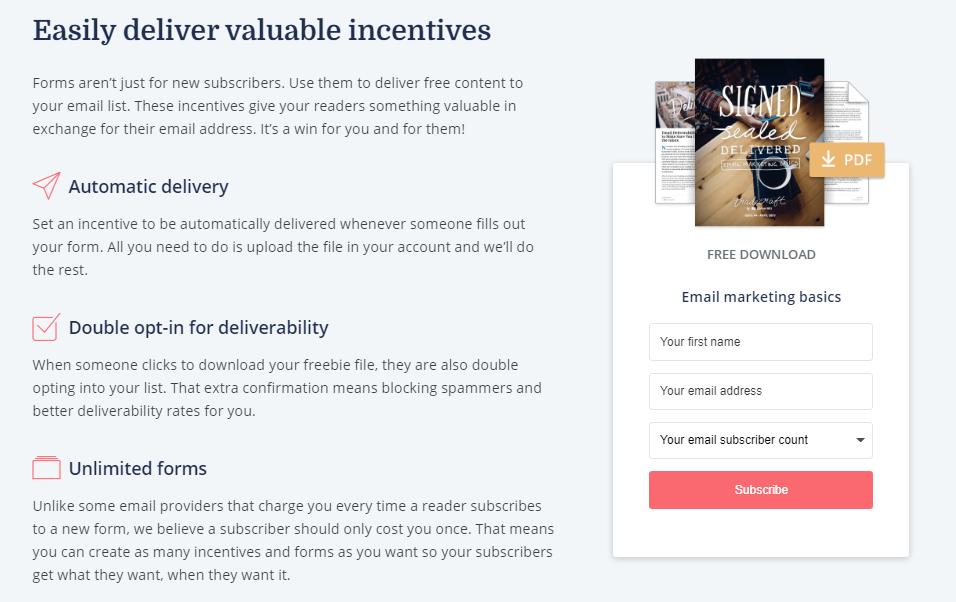 Deliver Important Incentives ConvertKit