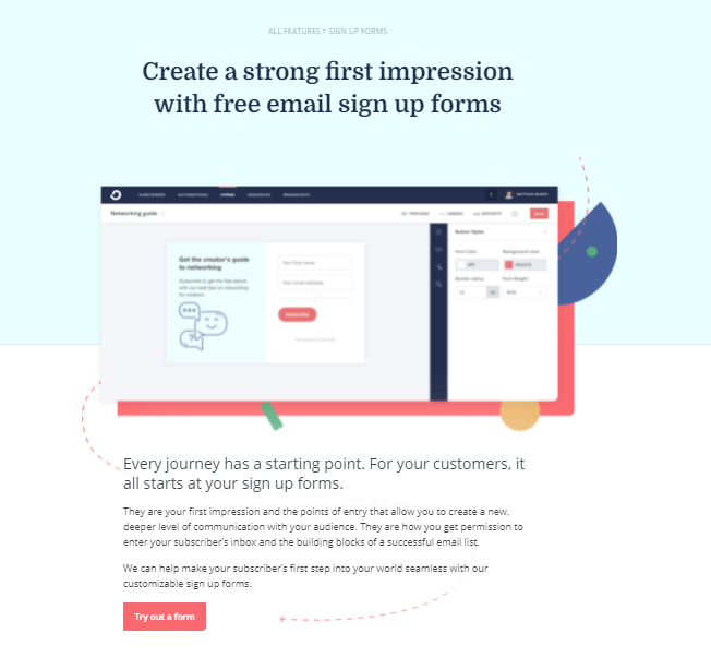 ConvertKit Email Sign Up Forms
